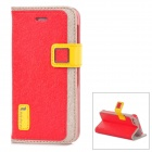 HELLO DEERE Protective PU Leather Case w/ Card Holder Slots for Iphone 5 - Red + Yellow