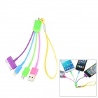 Compact 3-in-1-USB-Stecker an Micro-USB + Apple 30 Pin + Blitz Male Cable w / Strap - Bunt