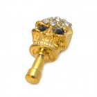 Elegant Rhinestone Skull Style Anti-Dust Plug for Iphone / Samsung / HTC / Xiaomi - Golden (3.5mm)