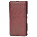 Stylish Protective PU Leather Case w/ Card Holder Slot for Sony LT36 - Red Brown