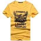 Camera Pattern Men's Cotton Short Sleeve T-Shirt - Yellow + Black (Size M)
