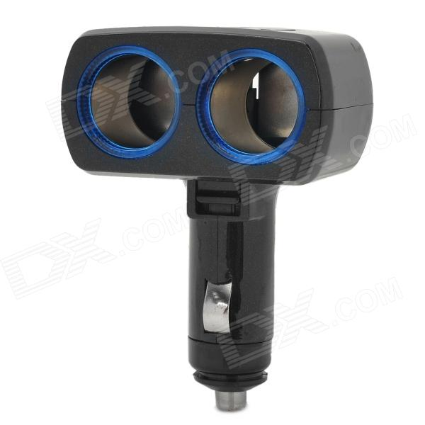 SD-1905T 90-Degree Rotational 1-to-2 Car Cigarette Lighter Socket / LED Light Ring - Black