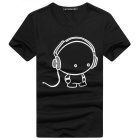 Headphone Cartoon Man Pattern Fashionable Short T-Shirt - Black + White (Size XXL)