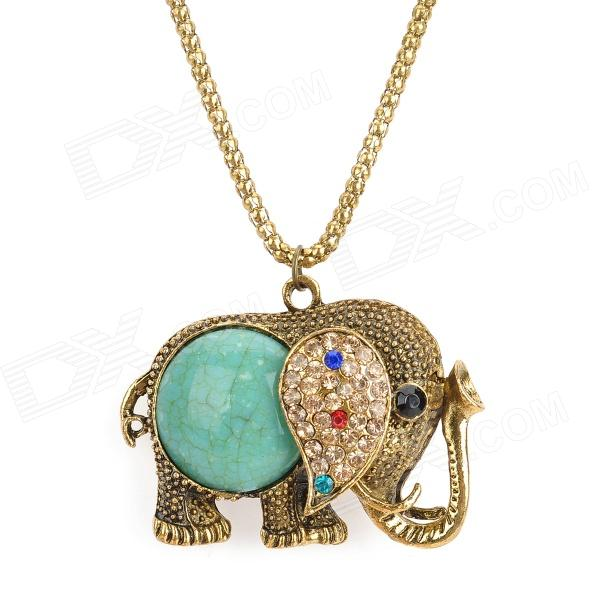 Fashion Elephant Style Zinc Alloy Stone Pendant Necklace - Bronze + Green vfd004m21a second hand vfds m 220 v 0 4 kw inverter drive board power board main board