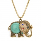 Fashion Elephant Style Zinc Alloy Stone Pendant Necklace - Bronze + Green