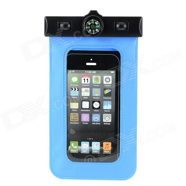 Waterproof Armband Bag Case w/ Compass for Iphone 5 - Blue waterproof bag pouch w compass armband neck strap for iphone 5 4 4s camouflage green page 1