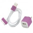 Fashion Glitter AC Power Adapter w/ USB Data Charging Cable for iPhone 4 / 4S - Deep Pink + White