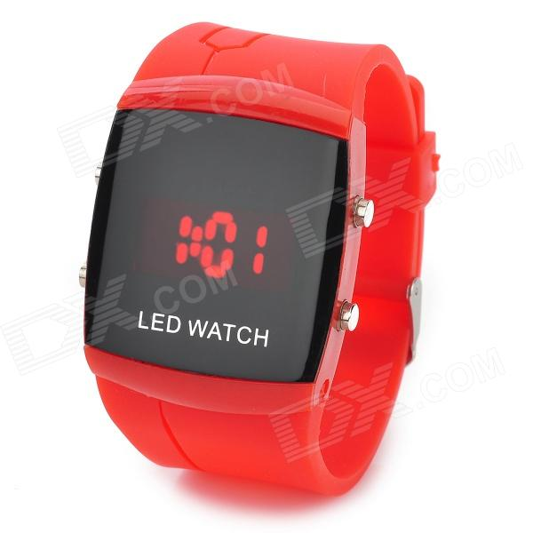 072101 Fashionable Rectangle Digital LED Wrist Watch - Red (1 x CR2032)
