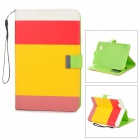 Protective Fiber Leather Case for Galaxy Tab 3 P3200 - White + Red + Yellow + Pink + Green