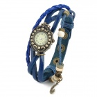 Fashion Ellipse Dial Winding Cow Split Leather Quartz Wrist Watch for Women - Deep Blue (1 x AG4)