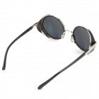 9002 Fashion Round Lens UV400 Protection Sunglasses - Black + Silver
