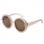 1085-C5 Fashion Round Translucent Brown Lens UV400 Protection Sunglass - Brown