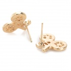 Creative Bicycle Style Crystal Earring Ear Studs - Golden (3 PCS)