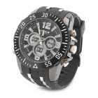 HPOLW Sports Rubber Band Analog + Digital Wrist Watch for Men - Black