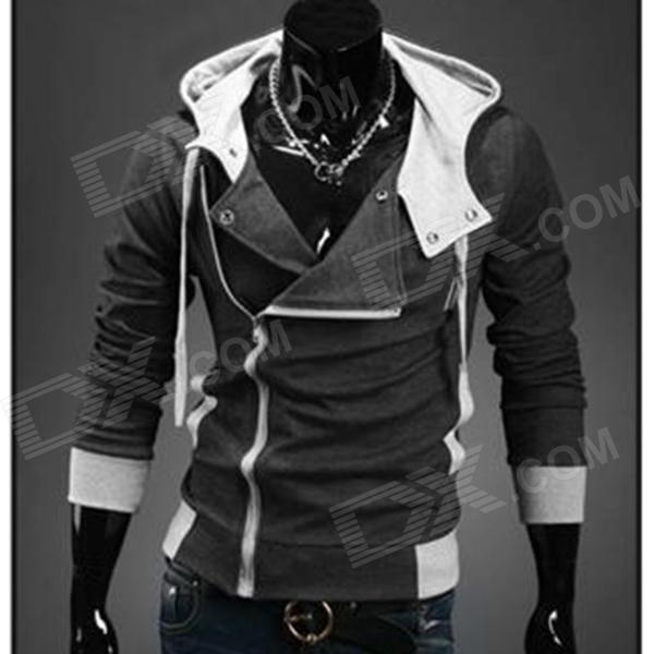 Men's Fashion Slim Style Cotton Hoodies Sweatshirts - Deep Grey (XL)