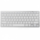 External Bluetooth v3.0 78-Key Spanish Keyboard for Tablet / Laptop - White + Silver