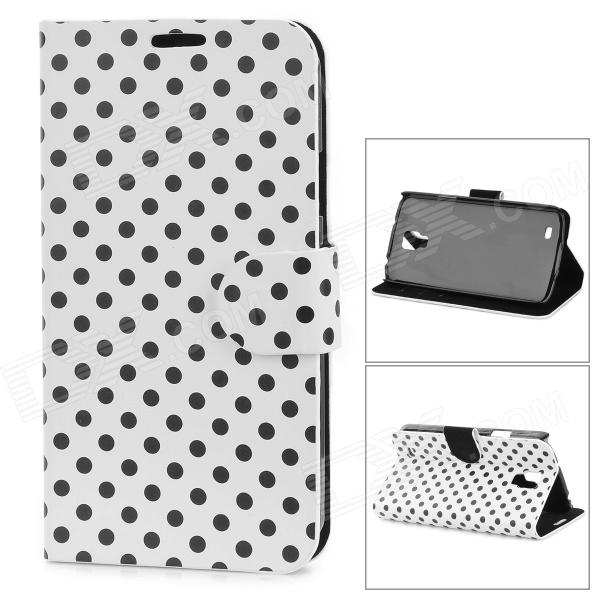 Dot Pattern Protective PU Leather Case Cover Stand for Samsung Galaxy S4 Active i9295 - White protective silicone back case pu leather cover stand for samsung galaxy s4 active i9295 deep blue