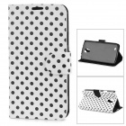 Dot Pattern Protective PU Leather Case Cover Stand for Samsung Galaxy S4 Active i9295 - White