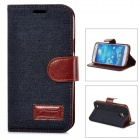 Protective PU Leather Flip Open Case w/ Card Slots for Samsung i9295 - Black Blue + Brown