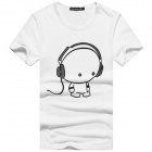 Headphone Cartoon Man Pattern Cotton Men's Short T-Shirt - White + Black (Size L)