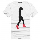 Silhouette Man Pattern Fashionable Cotton Short T-Shirt - White + Black (Size XXXL)