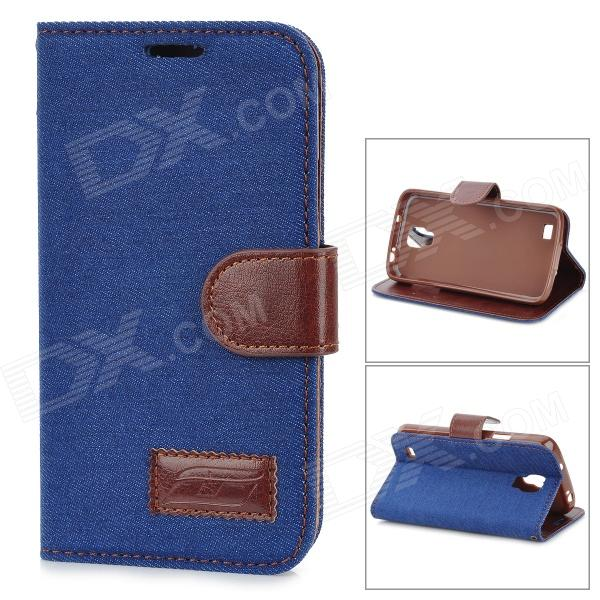 Protective Silicone Back Case PU Leather Cover Stand for Samsung Galaxy S4 Active i9295 - Deep Blue
