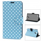 Dot Pattern Protective PU Leather Case Cover Stand for Samsung Galaxy S4 Active i9295 - Blue + White