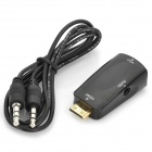 Mini HDMI Male to VGA Female + Audio Jack Adapter - Black + Golden