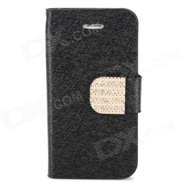 Luxury Silk Style Crystal Buckle PU Leather Case for Iphone 4 / 4S - Black