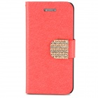 Luxury Silk Style Crystal Buckle PU Leather Case for Iphone 5 - Red
