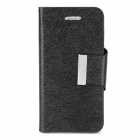 Luxury Silk Style Flip Open PU Leather Case w/ Card Slot for Iphone 5 - Black