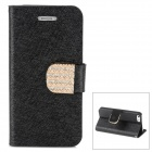 Luxury Silk Style Crystal Buckle PU Leather Case w/ Card Slot for Iphone 5 - Black