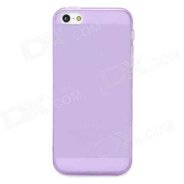 Protective TPU Soft Back Case Cover w/ Anti-Dust Plug for Iphone 5 - Translucent Purple soft silicone anti noise earplug with cable and case purple
