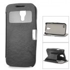 Protective PC Case + PU Leather Cover w/ Stand / Display Window for Samsung Galaxy S4 Mini - Black