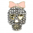 Sweet Punk Style Skull Shaped Crystal Ring - Pink + Bronze