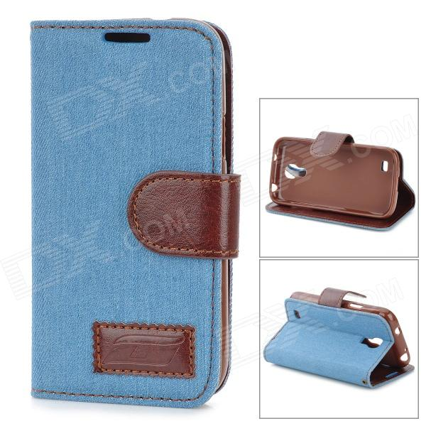 Protective Silicone Back Case + PU Leather Cover Stand for Samsung Galaxy S4 Mini i9190 - Sky Blue