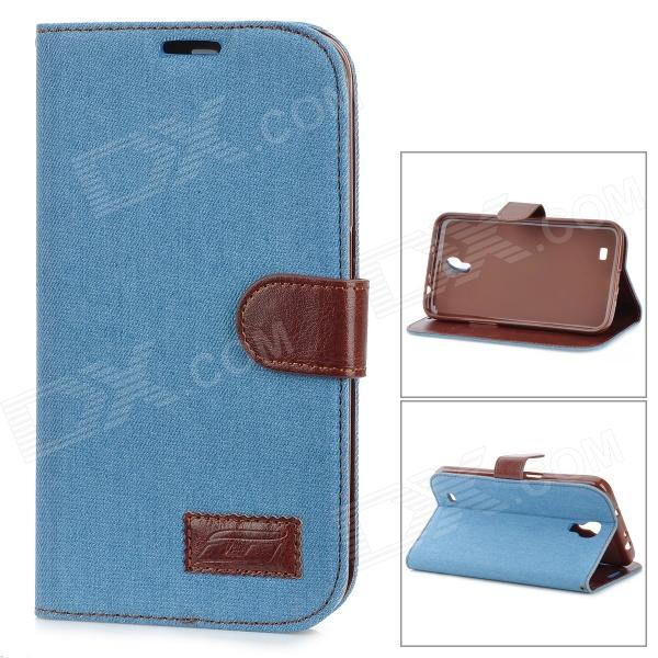 Protective Silicone Back Case PU Leather Cover Stand for Samsung Galaxy Mega 6.3 i9200 - Sky Blue protective silicone back case pu leather cover stand for samsung galaxy s4 active i9295 deep blue