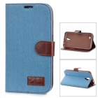 Protective Silicone Back Case PU Leather Cover Stand for Samsung Galaxy Mega 6.3 i9200 - Sky Blue