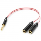 3.5mm Jack Male to 2 3.5mm Jack Female Extension Cable - White + Black + Red (18cm)