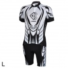 LAMBD CM1301 Men's Bicycle Cycling Short Sleeves Jersey + Shorts Set - Black + White (Size L)