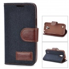 Protective Silicone Back Case + PU Leather Cover Stand for Samsung Galaxy S4 Mini i9190 - Deep Blue