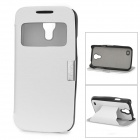 Protective PC Case + PU Leather Cover w/ Stand / Display Window for Samsung Galaxy S4 Mini - White