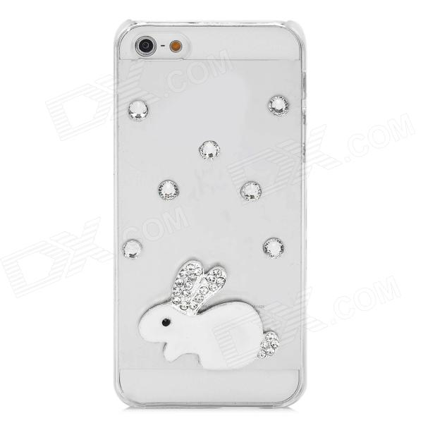 Fashion Crystal Rabbit Style Plastic Back Case for Iphone 5 - White + Silver + Transparent princess style shiny crystal back case for iphone 5 white