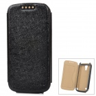 Protective Silk Print PU Leather Case for Samsung Galaxy S4 Mini - Black