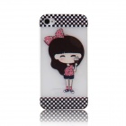 ENKAY Girl Pattern Rhinestone Encrusted Plastic Case Back Cover for Iphone 4 / 4S - Multicolored