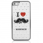 ENKAY I Love Beard Pattern Protective Plastic Back Case for Iphone 5 - White + Black + Red