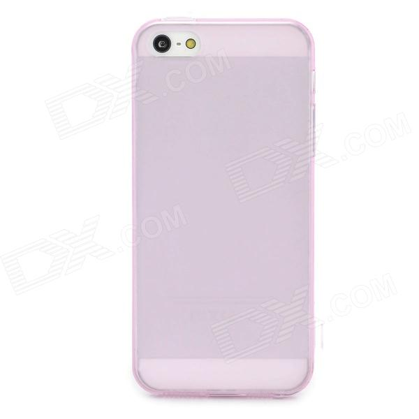 Protective TPU Soft Back Case Cover w/ Anti-Dust Plug for Iphone 5 - Translucent Pink protective pc tpu back case for iphone 5 w anti dust cover white light green
