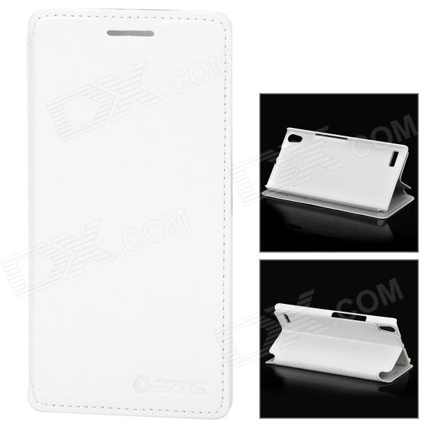 Azns Stylish Protective PU Leather Case for Huawei P6 - White azns protective pu leather case for samsung i8552 red