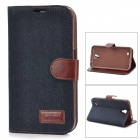 Protective Silicone Back Case PU Leather Cover Stand for Samsung Galaxy Mega 6.3 i9200 - Black