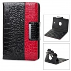 62-Key Bluetooth V3.0 Keyboard Cover Case w/ Stand for Samsung Tab3 P3200 - Black + Red